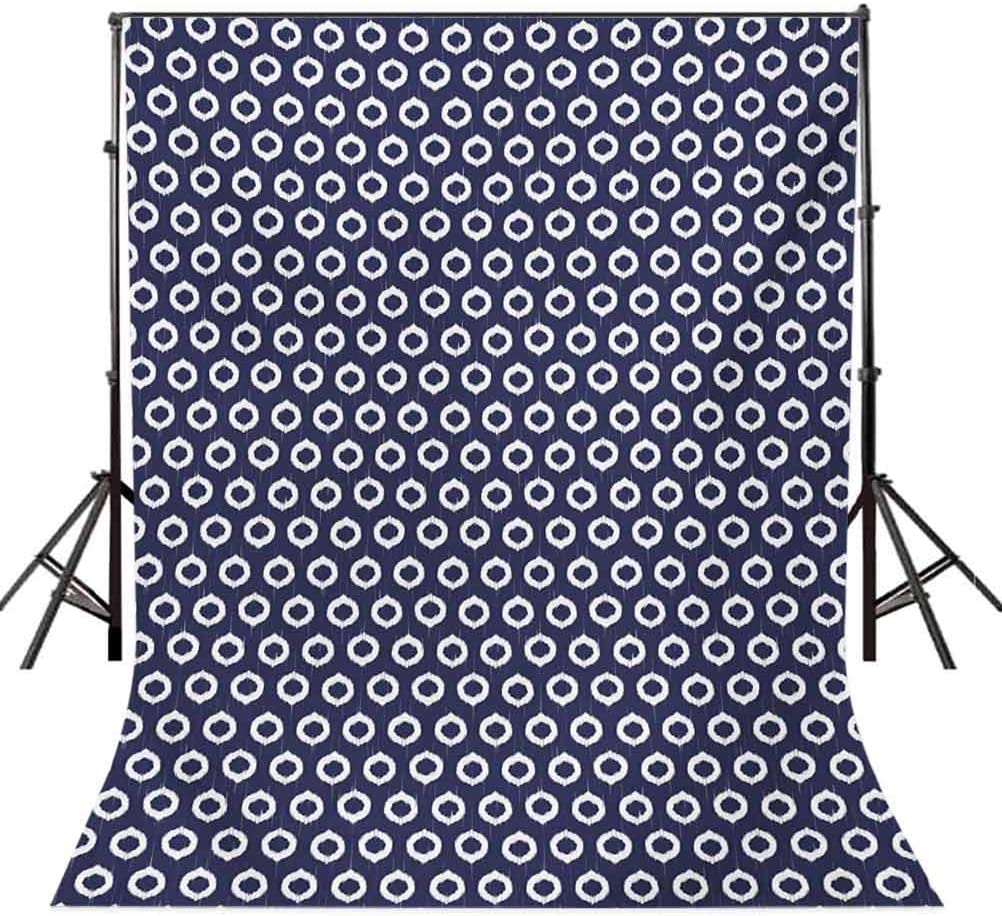 Ikat 10x12 FT Photography Backdrop Indonesian Circle Shapes Pattern with Grunge Look and Contrasting Tones Motifs Background for Baby Shower Bridal Wedding Studio Photography Pictures Dark Blue Whit