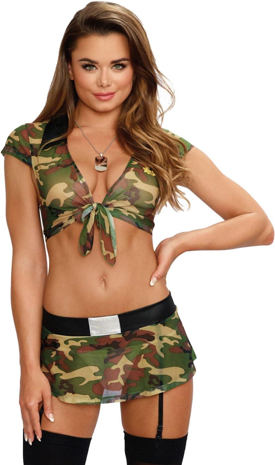 DreamGirl Disfraz Emocionante Chica Soldado Un Tamaño Camuflaje ...