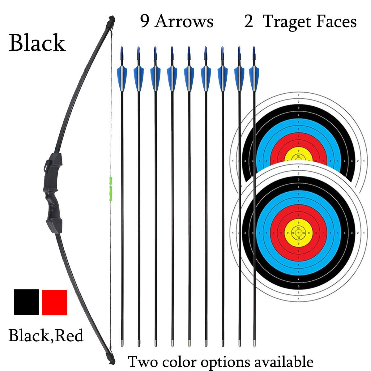 iMay 45'' Bow and Arrows Set with 9 Arrows 2 Target Faces for Teens Outdoor Archery Beginner Gift Recurve Bow Longbow Kit (Black) by iMay