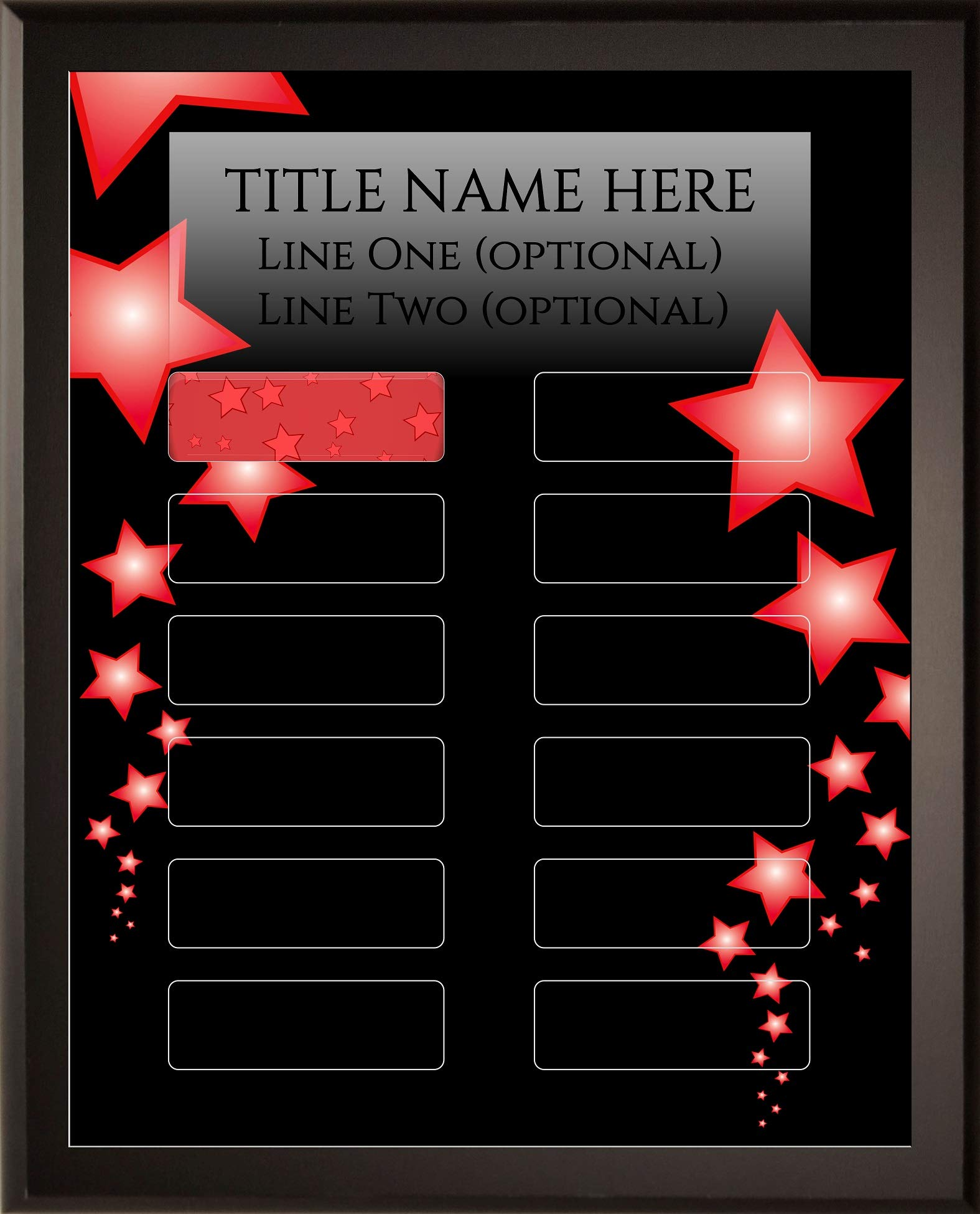Employee of The Month DIY Perpetual Red Stars Plaque Magic Recognition Award Kit - 12 Plate Fully Customizable - Salesperson of The Month - No Engraving Needed Do It Yourself