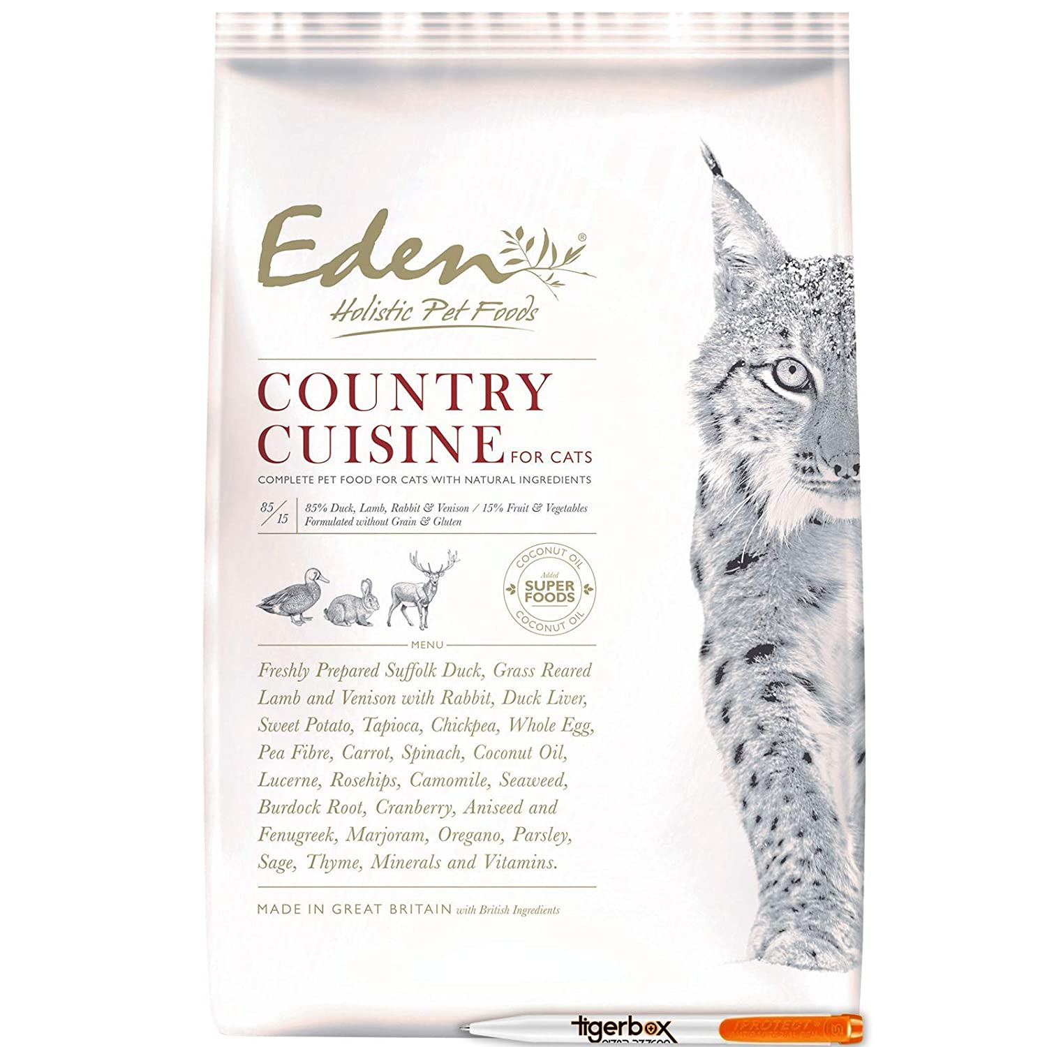 4KG 4KG Eden 85 15 Country Cuisine Dry Cat Food Suitable for Kittens, Adult and Senior Cats AND Tigerbox® Antibacterial Pen