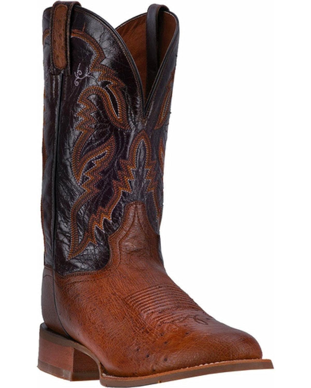 6078e637684 Dan Post Men's 12'' Conrad Ostrich Wide Round Toe Western Leather ...