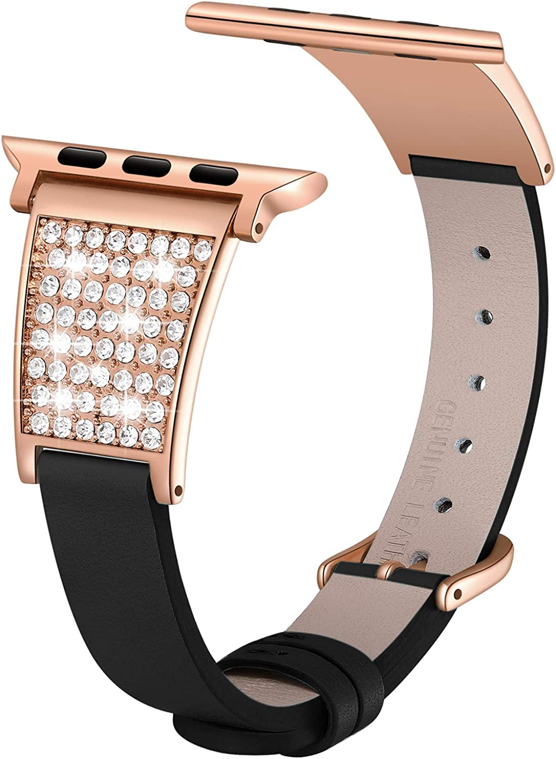Love Lies Within Stylish Starry Sky Band Compatible for Apple Watch Bands 38mm 40mm 42mm 44mm Bling Genuine Leather Replacement Wristband for iWatch SE Series 6/5/4/3/2/1 Women Girls