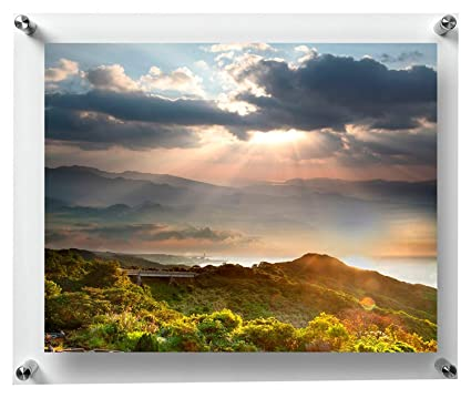 Paper Plane Design Double Panel Clear Acrylic Floating Frame With Silver  Hardware For Art & Photos (11 In X 17 In)