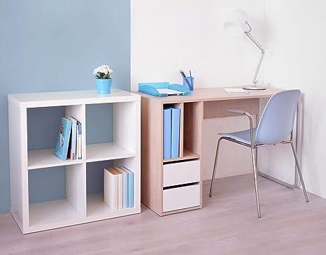 Miroytengo Conjunto Mesa Escritorio con estanteria Cubo Color ...