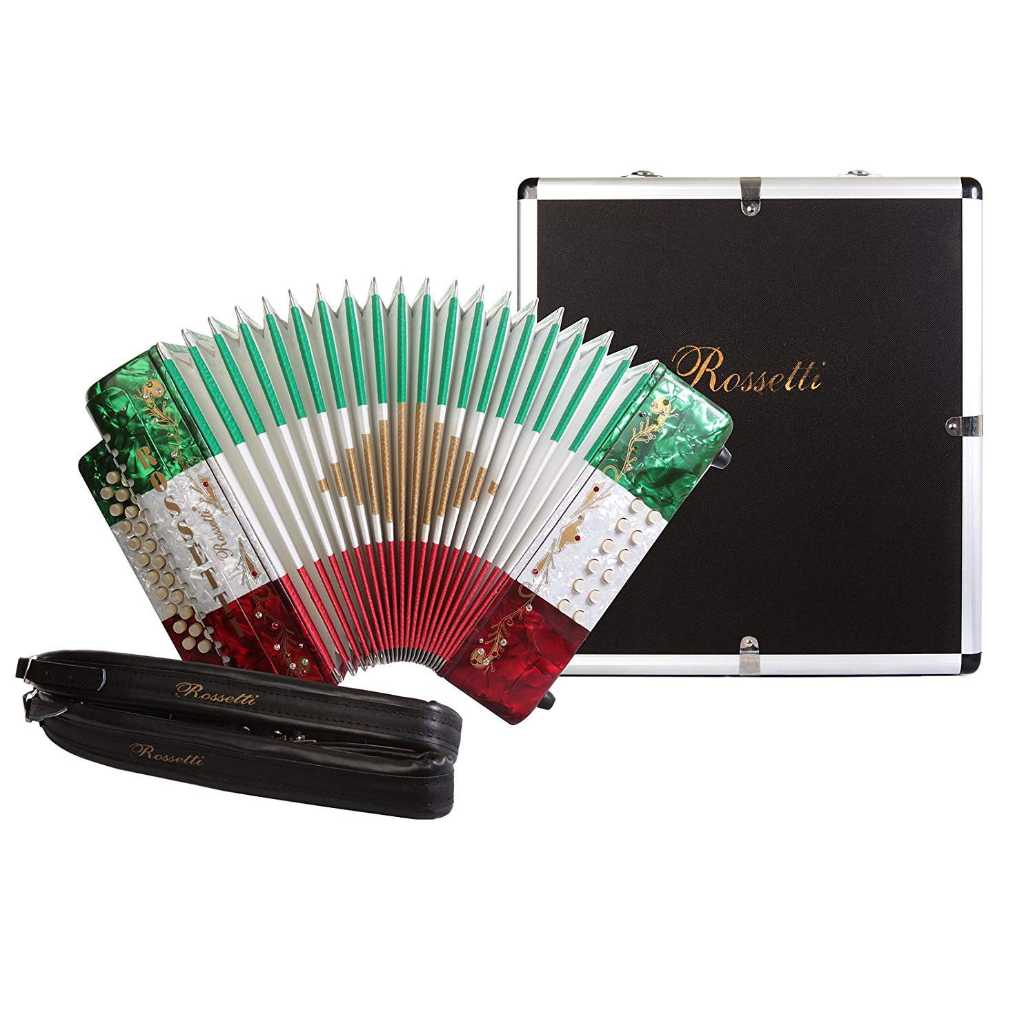 Rossetti 31 Button Accordion 12 Bass FBE Mexican Flag