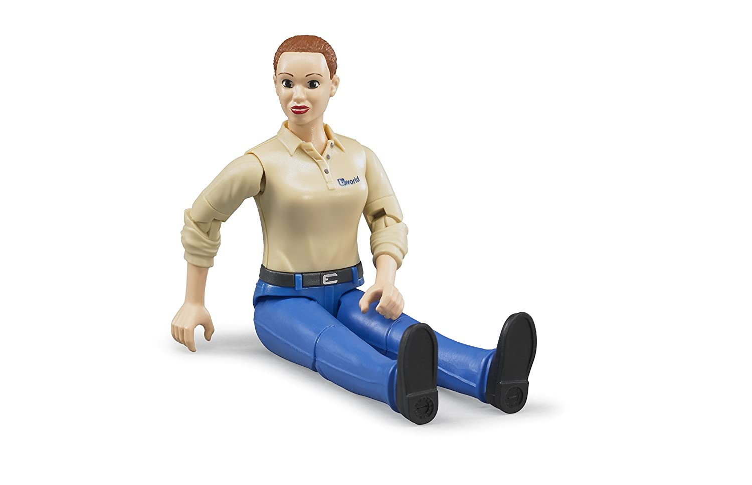 Bruder Woman Dark Skin Toy Figure with Turquoise Jeans