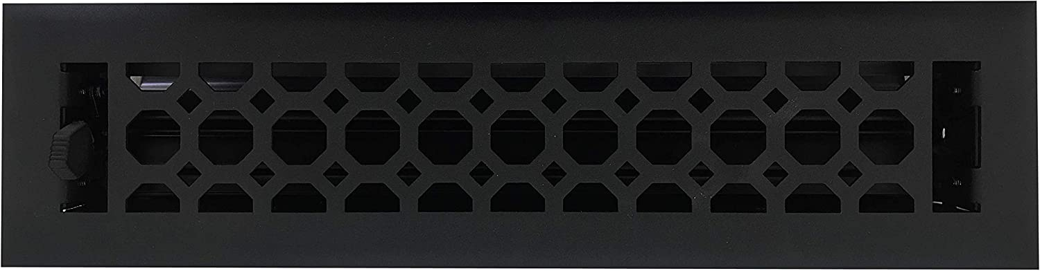 Empire Register Co, Honeycomb Design, Textured Black Finish, in Cast Iron Look, Heavy Duty Floor Register. Floor Vent Covers Size - 2 x 12 inch, Overall Face Size - 3.5 x 13.5 inch.