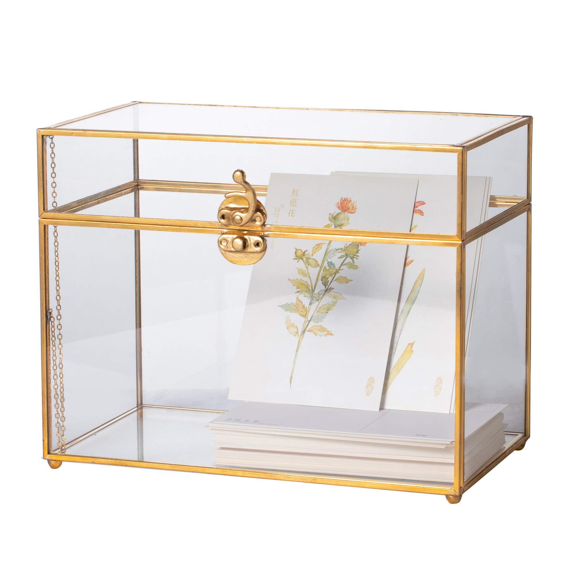 Long Foot Vintage Rectangle Geometric Glass Card Box Organizer Terrarium with Lock Centerpiece Decor Window Tabletop Planter Handmade Garden Patio Square Copper House Flower Pot for Plants Succulets