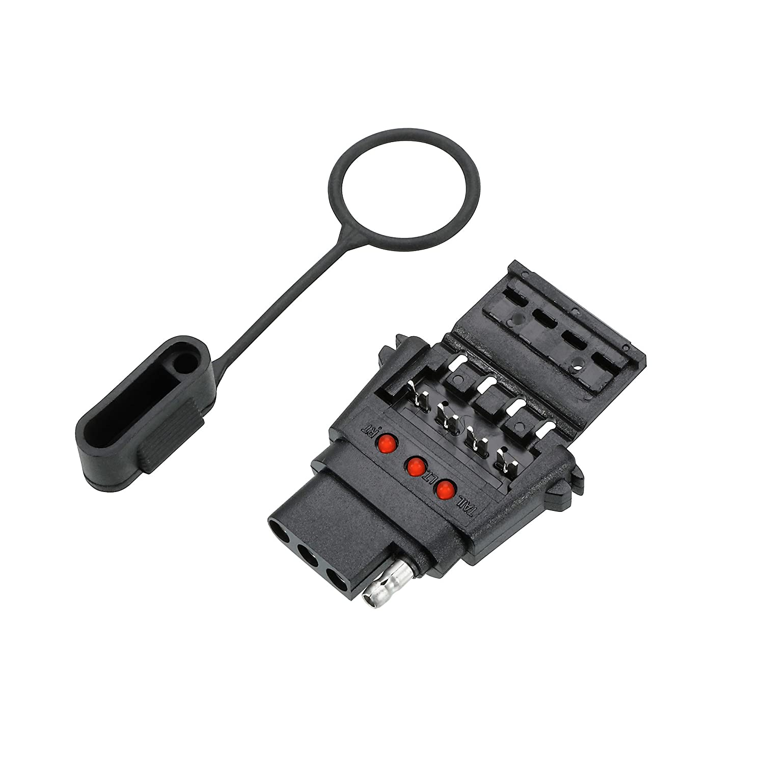 4 Wire Flat Reese Towpower 78114 Insta-Plug Vehicle End Connector with LED Circuit Tester