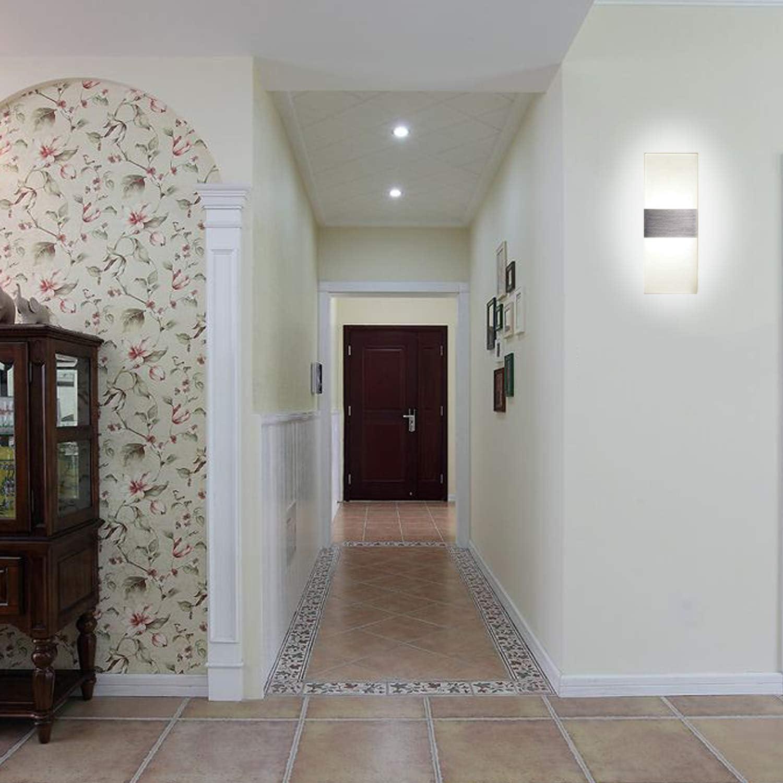 L/ámpara de Pasillo en Acr/ílico Moderna para Corredor Blanco frio 6000K L/ámpara de Pared Interior LED AC 220V 2 x Aplique Pared Interior 12W Kimjo Escalera Dormitorio L/ámpara de Decoraci/ón