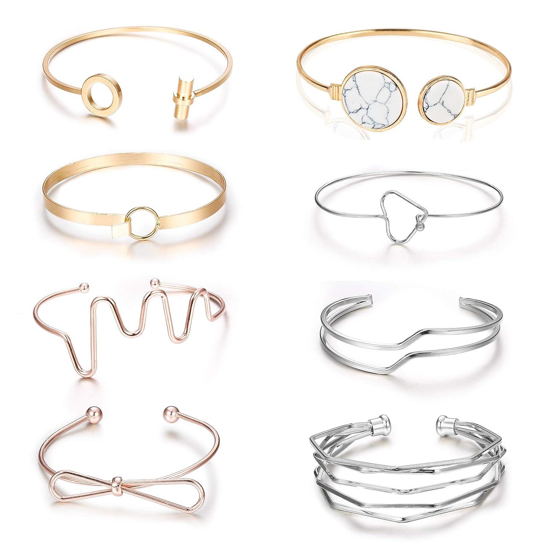 LOLIAS 8 Pcs Cuff Bangle Bracelets Set for Women and Girls Love Knot Bracelet Stackable LOB-CUFF001-8