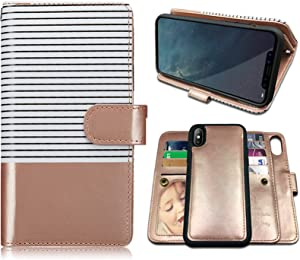iPhone X Case,iPhone Xs Case Wallet with Magnetic Detachable Case,9 Card Slots,Wrist Strap, CASEOWL 2 in 1 Folio Flip Premium PU Leather Wallet Case for iPhone X/XS/10/10s 5.8 inch (White&Rose Gold)