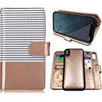 iPhone X Case,iPhone Xs Case Wallet with Magnetic Detachable Case,9 Card Slots,Wrist Strap, CASEOWL 2 in 1 Folio Flip…