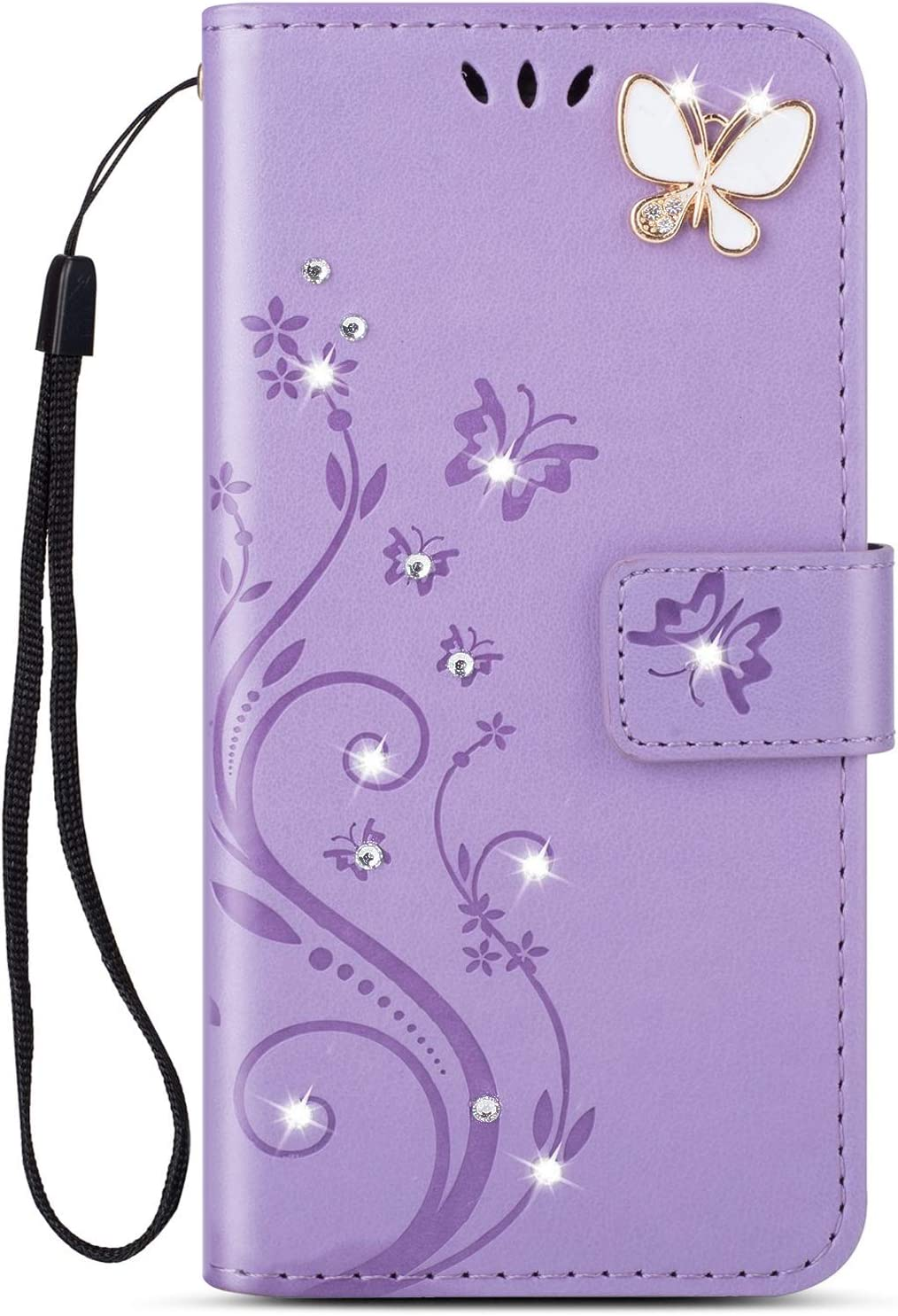 Herbests Compatible with Huawei Mate 20 Pro Wallet Case Protective Flip Leather Cover Retro Luxury 3D Glitter Sparkle Pattern Design Phone Case Card Holder with Kickstand,Pink Flower