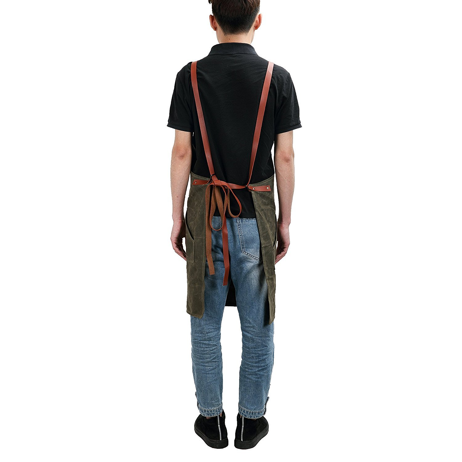 Waxed Canvas Carpenters Apron Army Green QEES Mens Tool Apron Joiners Apron WQ05 Heavy Duty Waterproof Workshop Apron Bib