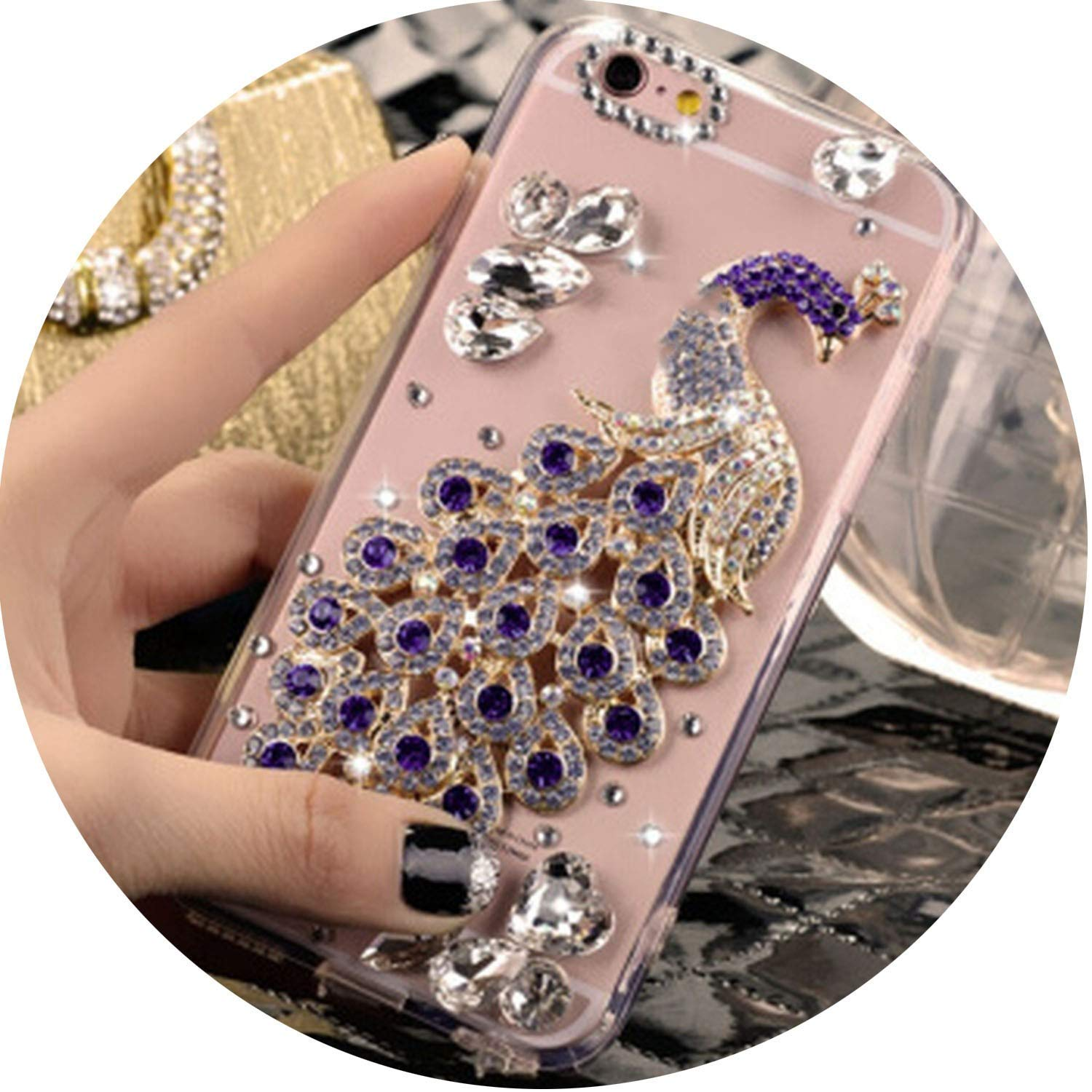 Phone Cases for iPhone X XS MAX XR 6 6s 7 8 Plus Luxury Glitter Diamond Peacock Crystal Mobile Phone Case, 11, for 6PLUS 6SPLUS HAATVN ADULT