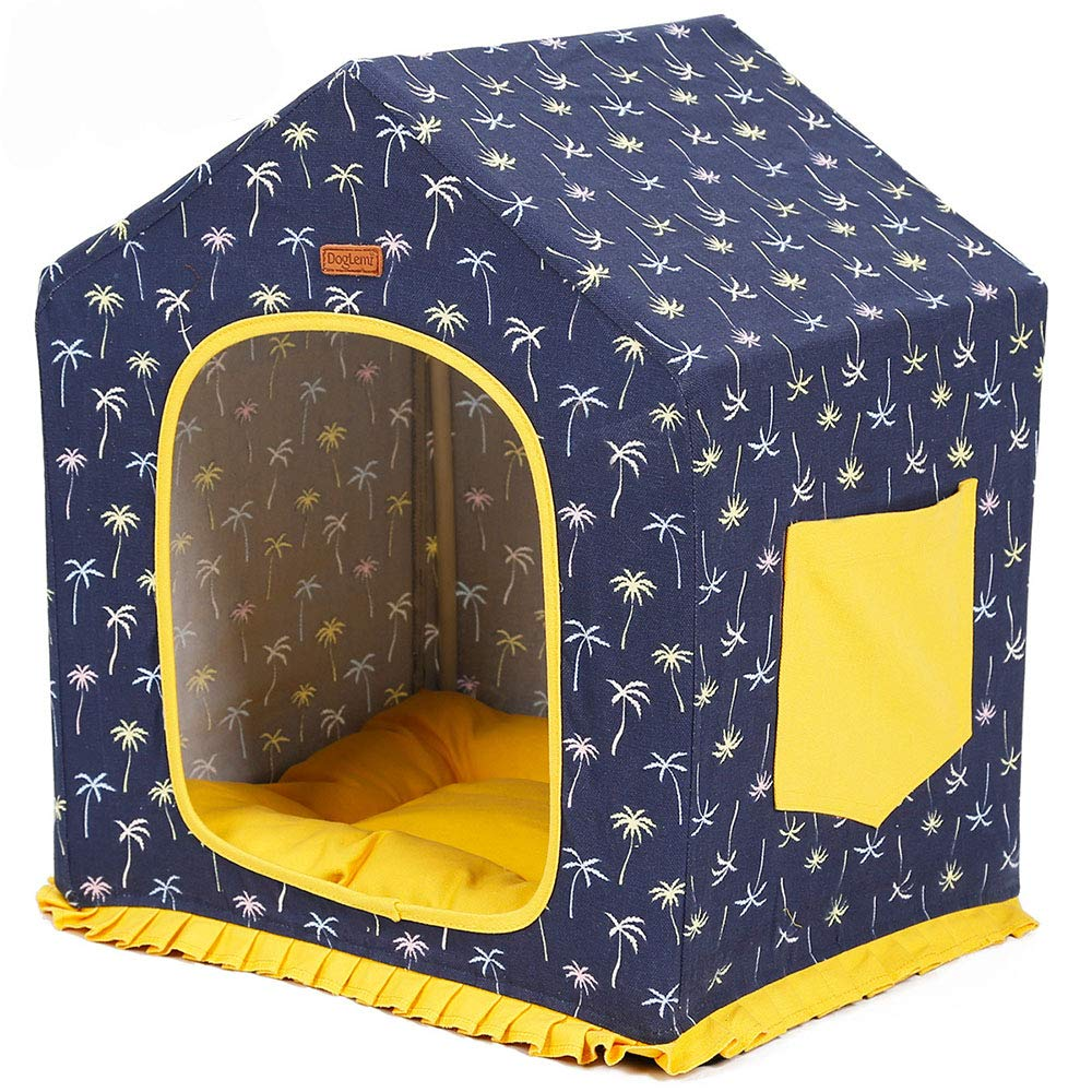 374551cm Pet House Detachable Washable Dog Bed Kennel Indoor Cat Nest for Small and Medium Dogs Easy to Disassemble,37  45  51cm