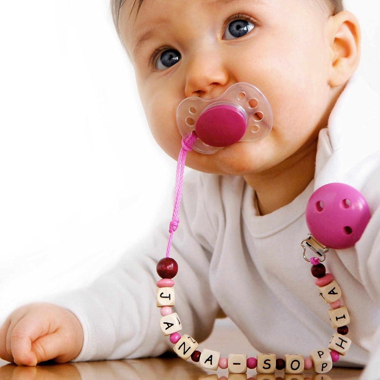 Schnullerkette mit Namen apfelgrün, Baby Schnullerkette mit Namen ...