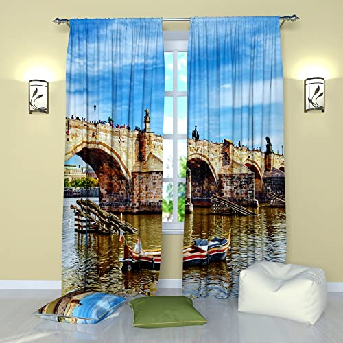 Factory4me City Window Curtains Karlov Bridge. Window Curtain Set of 2 Panels Each W52 x L96 Total W104 x L96 inches Drape