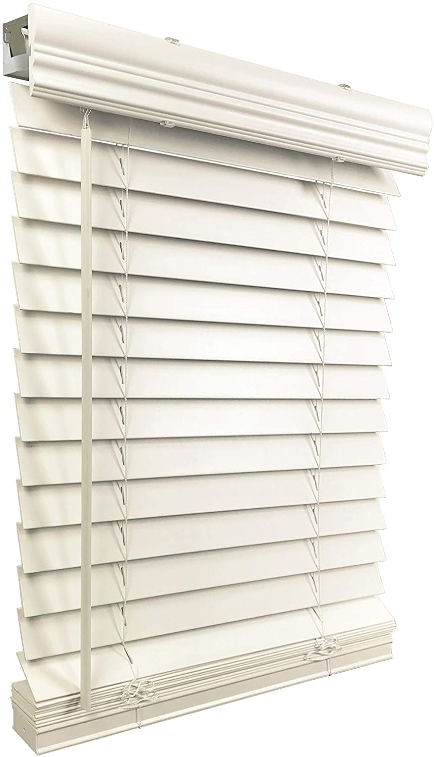 "US Window And Floor 2"" Faux Wood 30.5"" W x 36"" H, Inside Mount Cordless Blinds, 30.5 x 36, White"