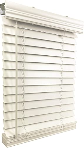 US Window And Floor 2 Faux Wood 28 W x 48 H, Inside Mount Cordless Blinds, White