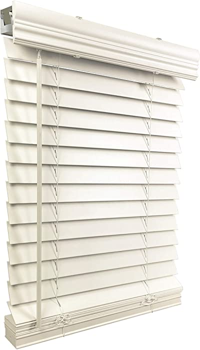"US Window And Floor 2"" Faux Wood 22.5"" W x 48"" H, Inside Mount Cordless Blinds, 22.5 x 48, White"