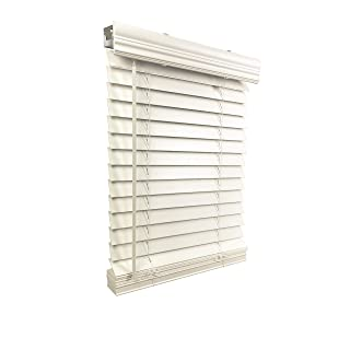 """US Window And Floor 2"""" Faux Wood 16.5"""" W x 48"""" H, Inside Mount Cordless Blinds, 16.5 x 48, White"""