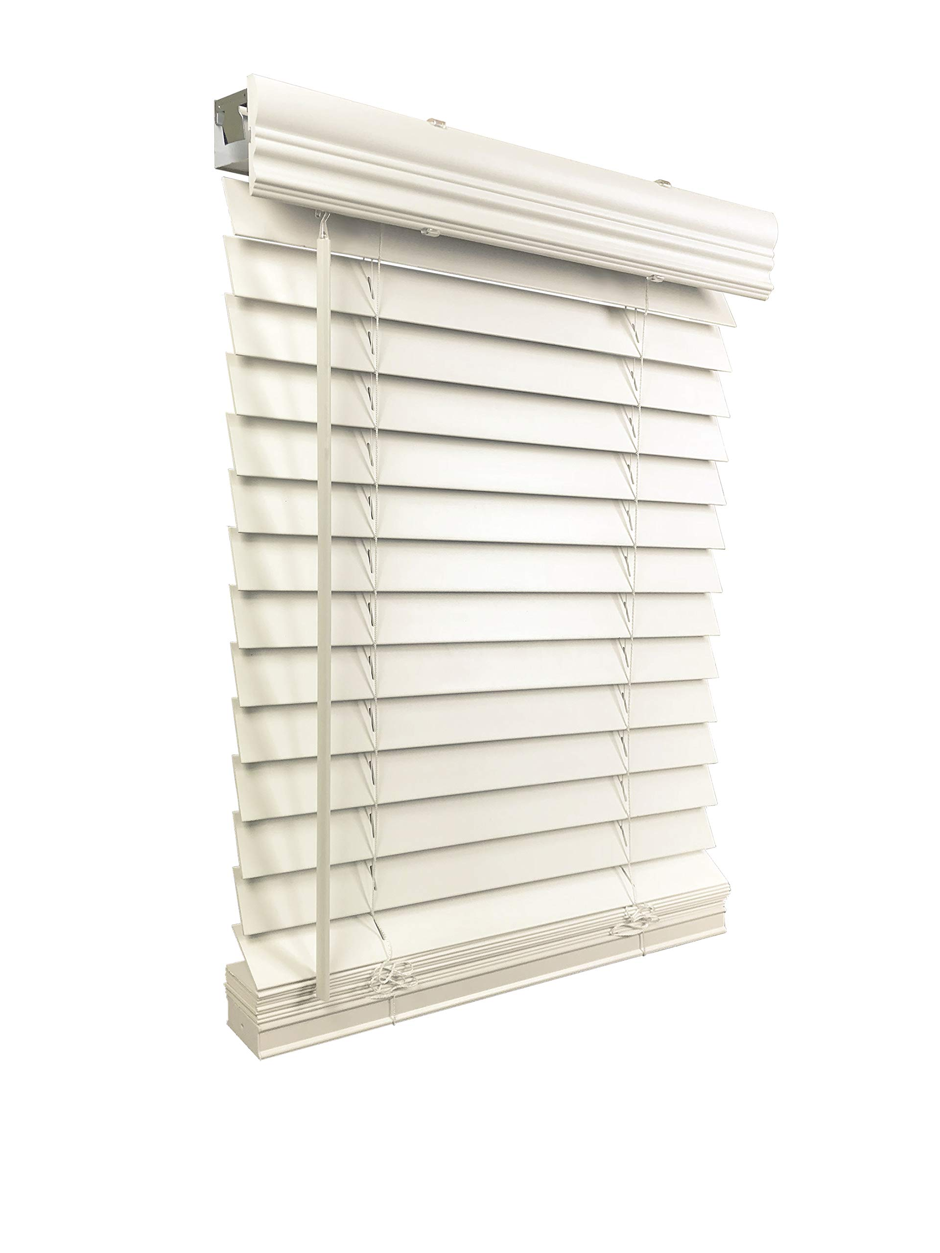"""CDM product US Window And Floor 2"""" Faux Wood 26.5"""" W x 48"""" H, Inside Mount Cordless Blinds 26.5 x 48 White big image"""