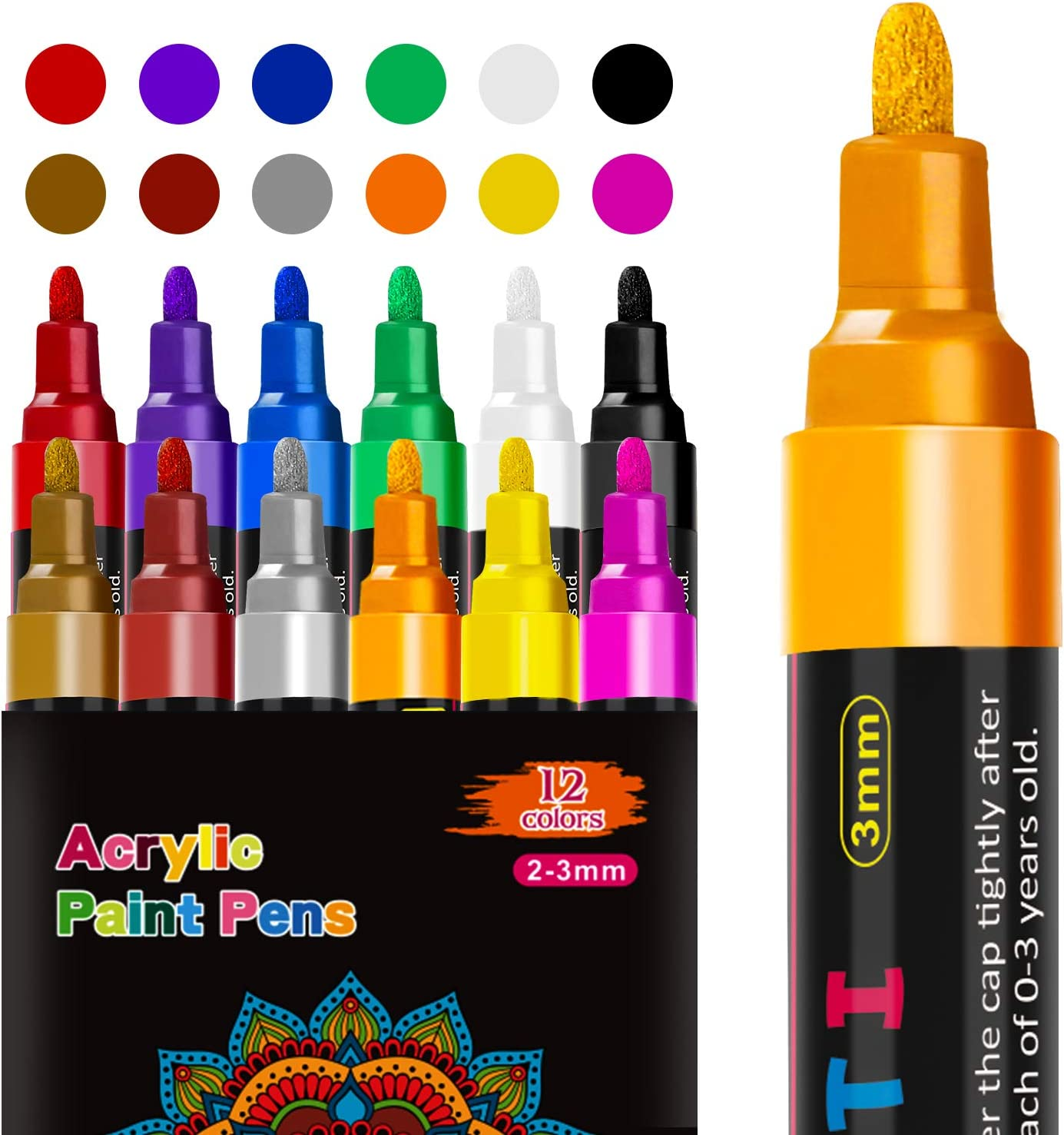 Rotuladores de pintura acrílica RATEL 12 colores Prima Impermeable Permanente Rotuladores para pintura rupestre, proyectos de bricolaje, cerámica, ...