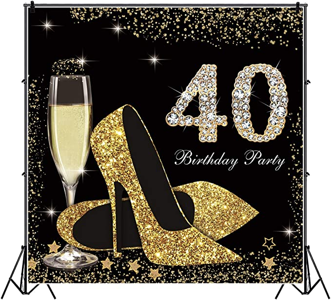 AOFOTO 5x5ft Happy 40th Birthday Backdrop for Women Gold Ladies 40 Years Old Glitter Stars High Heels Masquerade Mask Confetti Glass of Champagne Background for Photography Photo Studio Props Vinyl