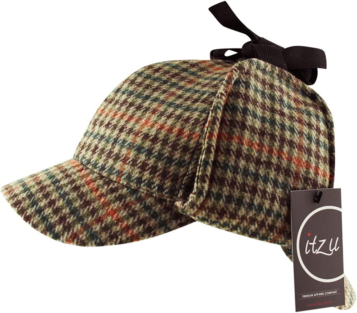 Itzu Tweed Deerstalker Sherlock Holmes Hat Wool Country Check Two Peaks Ear Flaps Unisex Brown