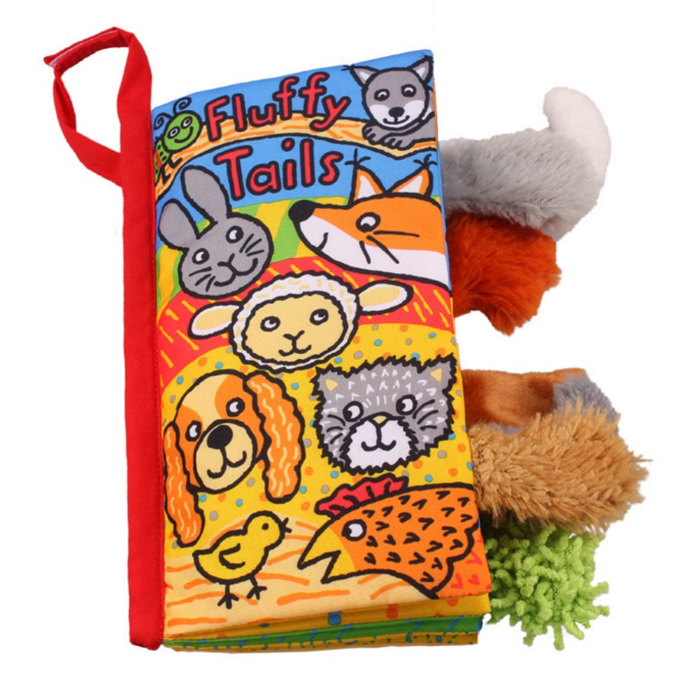 PYD Fashion Baby Soft Cloth Book Toys Rainforest Animal Tails Fabric Books Set Kids Intelligence Development Learning & Education Toy (Fluffy Tails)