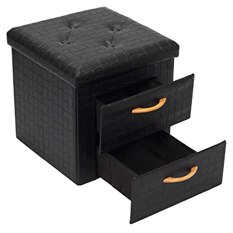 Superb B Fsobeiialeo Storage Ottoman With 2 Drawers Square Foldable Bed Ottoman Storage Cube Coffee Table Faux Leather Foot Stool Black 15X15X15 Pabps2019 Chair Design Images Pabps2019Com