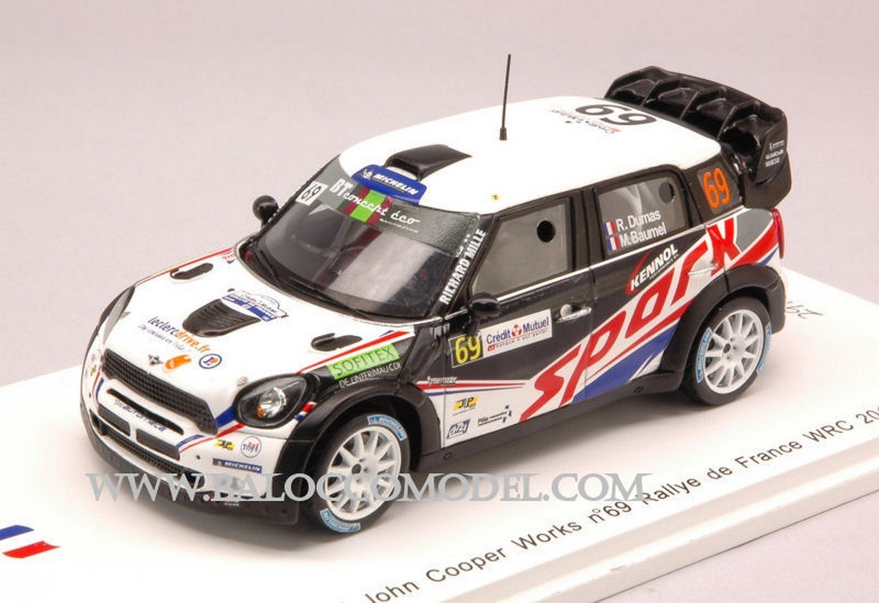 Spark Model SF040 Mini John Cooper N.69 Rally DE France 2012 Dumas-BAUMEL 1:43