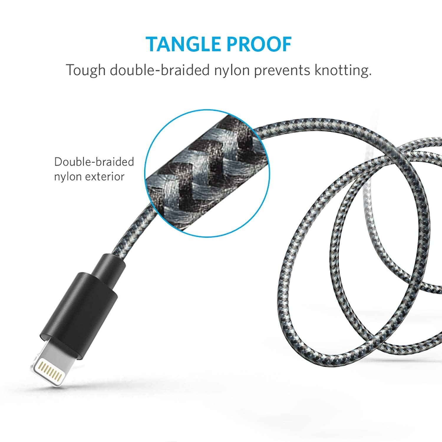 Anker 6ft Nylon Braided Usb Cable With Lightning Wiring Diagram5pin Micro Cableled Product On Connector Apple Mfi Certified For Iphone 6s Plus 6 Ipad Pro Air 2 And More Space