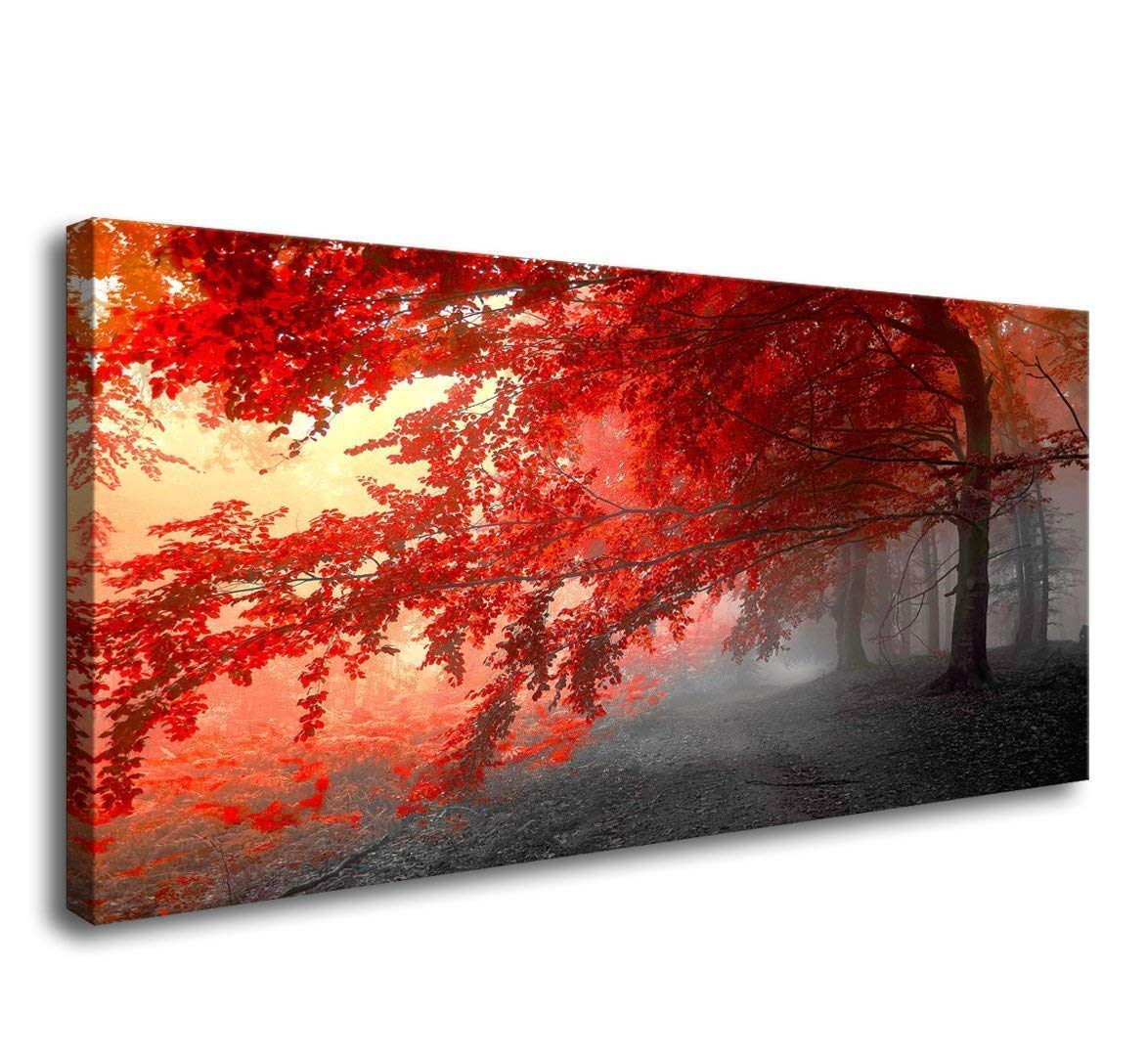 Canvas wall art for living room black and white red tree landscape painting bedroom wall decor 20 x 40 artwork ready to hang for decorations