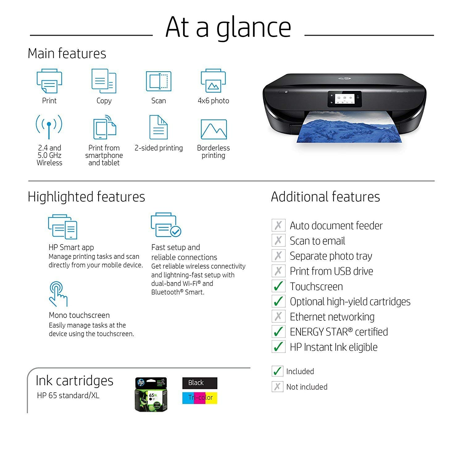 HP Envy 5055 Wireless All-in-One Photo Printer, HP Instant Ink & Amazon Dash Replenishment Ready (M2U85A) (Renewed) by HP (Image #7)