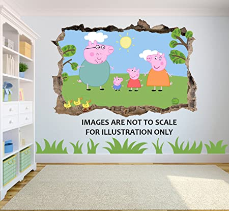 Peppa Pig Hole In Wall 3D effect Wall Sticker suitable for Kids
