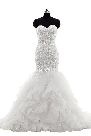 Zhongde Women\'s Sweetheart Mermaid Bridal Gown Plus Size Wedding ...