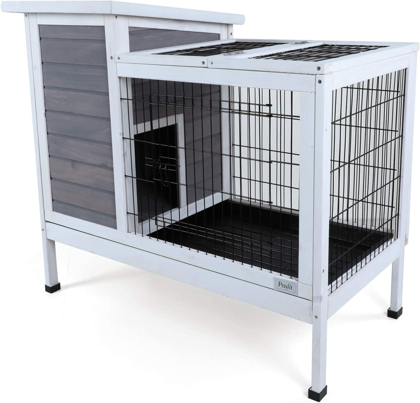 """Petsfit Wood Rabbit Cage with Not Leakage Deeper Removable Tray, 38.2"""" L x 19.6"""" W x 33.8"""" H"""