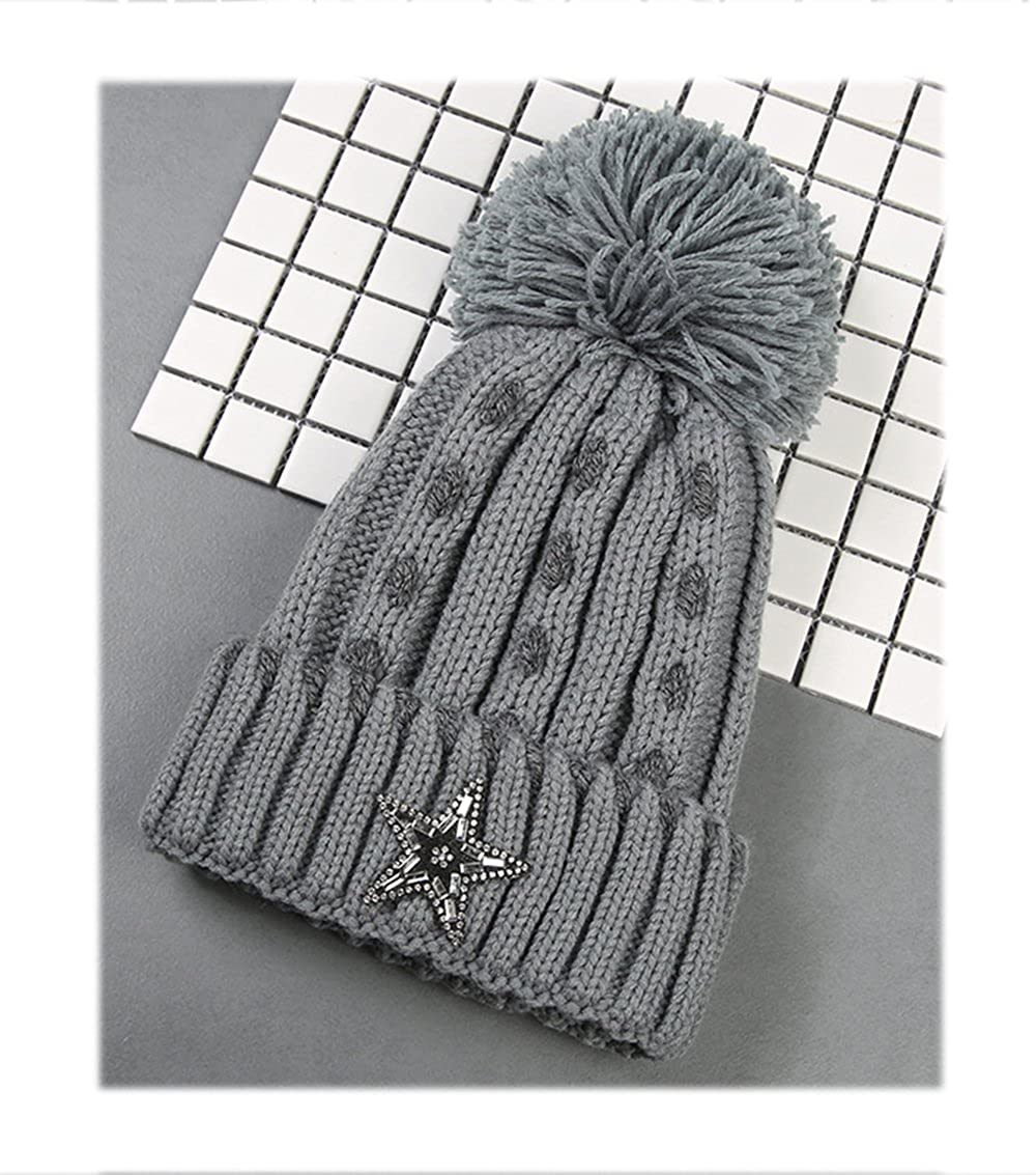 Star Knitted Wool Crochet Hat with Star and Fur Ball Winter Warm Beanie  Headwrap Braided Skully Hats at Amazon Women s Clothing store  5cb1fecaec94