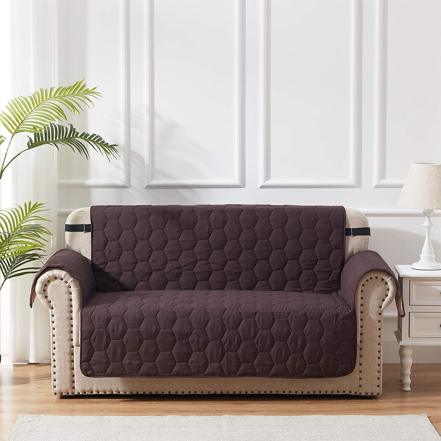SunStyle Home Loveseat Slipcover Furniture Protector 100% Waterproof Honeycomb Quilted Loveseat Couch Cover with Adjustable Elastic Strap and Non-Slip Backing - Chocolate/Beige