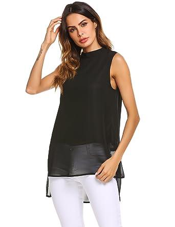 2ffabf3d475 Finejo Women s Summer Loose Casual Chiffon Sleeveless Tank Blouse Shirt Tops  (S