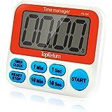 TopReturn Kitchen Timer, Dual Count UP/Down Timer, Led Digital Large Display, Loud Alarm, Magnetic Backing, Stand (1 pack)