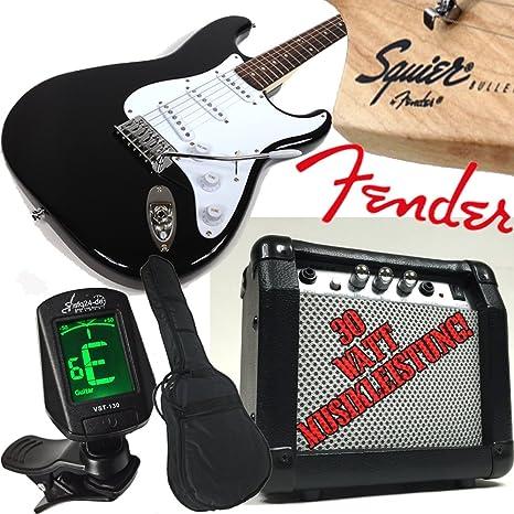 Original Fender Guitarra eléctrica Squier Bullet Stratocaster, Negro 30 W Amplificador, afinador – Fácil