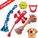 FAYOGOO Dog Rope Toys for Aggressive Chewers, 5 Packs Dog Toys for XLarge Dogs, Including Tough Cotton Dog Rope Toys, Indestructible Dog Rope Ball and Squeaky Toy for Playtime and Teeth Cleaning
