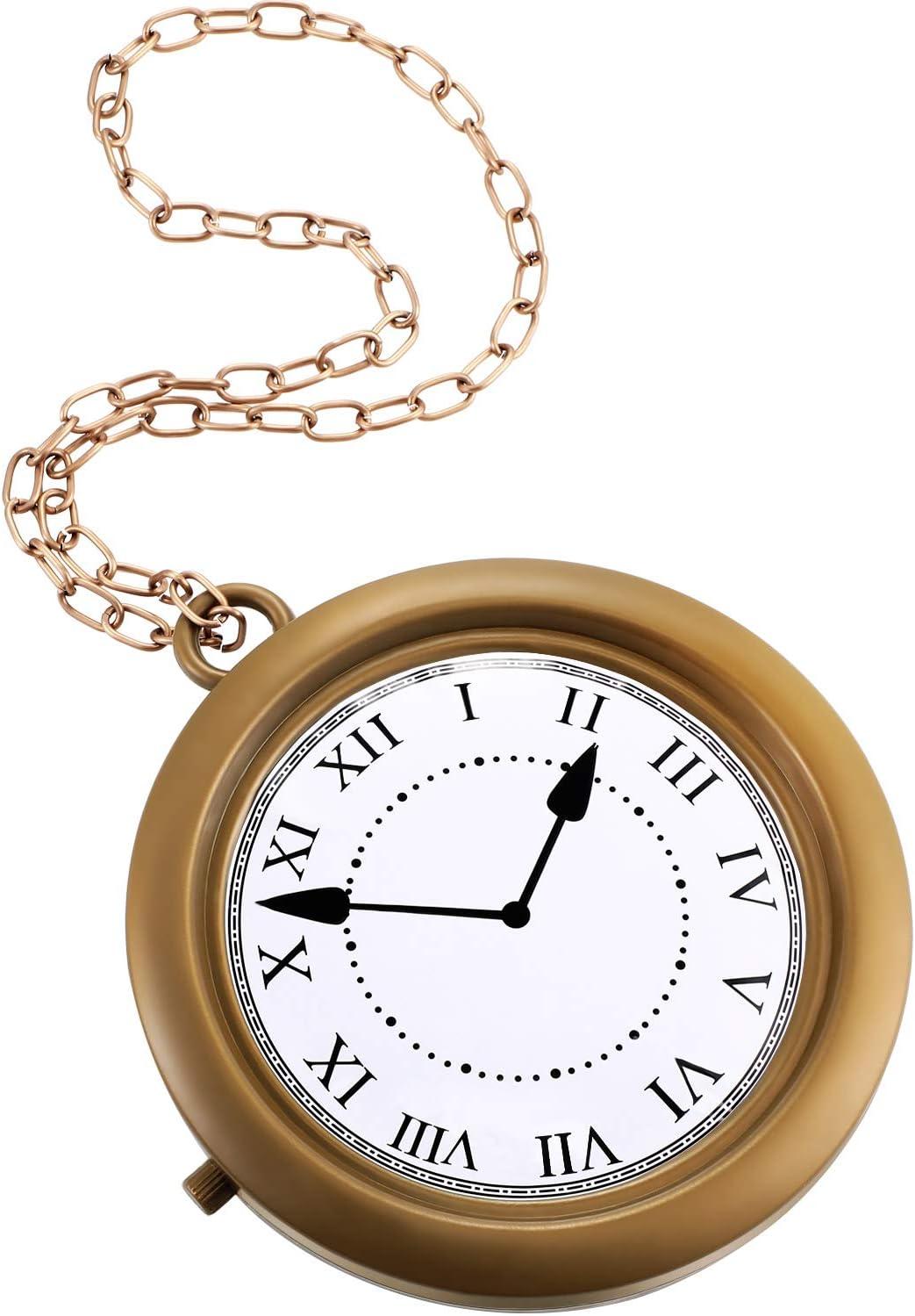 Gold Clock Necklace White Rabbit Clock Hip Hop Rapper Clock Oversized Non-Functioning Rabbit Costume Pendant for Women Men