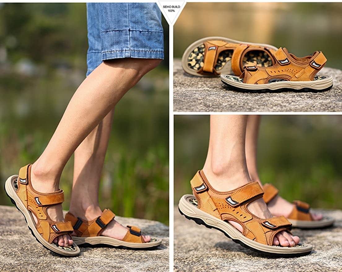 Seaoeey Summer Mens Leather Sandals Male Open Toe Beach Casual Shoes