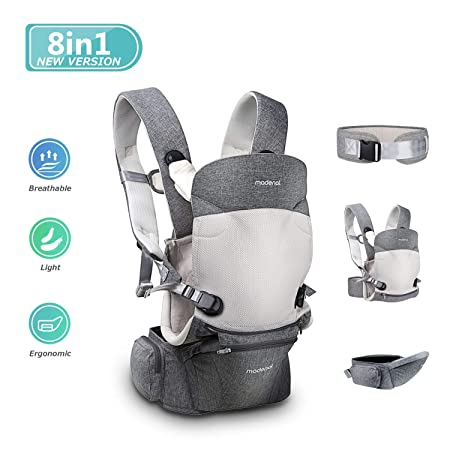 MADENAL 3 Function 360 Ergonomic Baby Carrier with Hip Seat for 0 36 Months Baby, 8 Positions for All Seasons , Adjustable and Breathable Waistband for The Carrier Normal to Oversize Gray